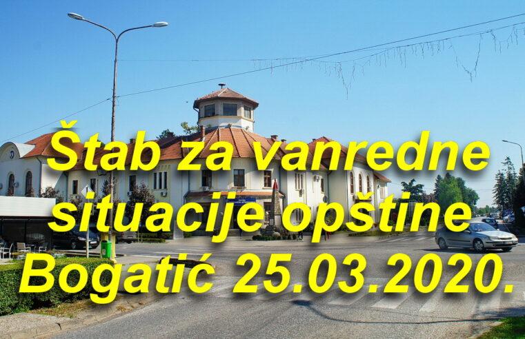 Novo – Štab za vanredne situacije opštine Bogatić 25.03.2020.
